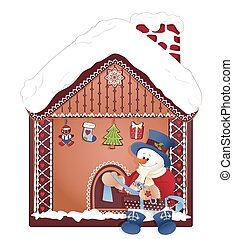 christmas- snowman with gift and ginger house - Christmas...