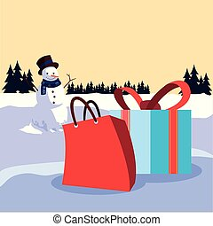 christmas snowman with gifts