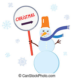 Christmas snowman with sign for holiday card