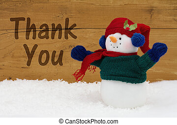 Christmas Snowman with text Thank You