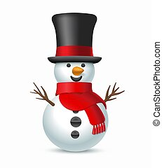 Christmas snowman with top-hat and scarf.