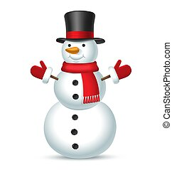 Christmas snowman with top hat, red scarf and mittens isolated on white background. Vector illustration