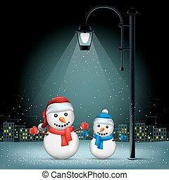 Christmas snowmans pillar and night city