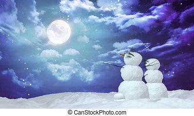Christmas snowmen and moon