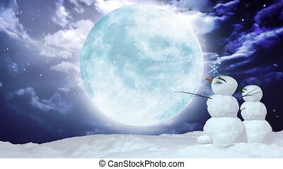 Christmas snowmen large moon