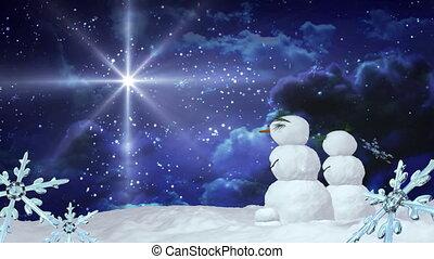 Christmas snowmen star with Snowflakes