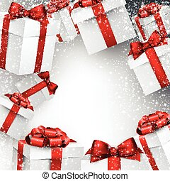 Christmas snowy background with gift boxes.