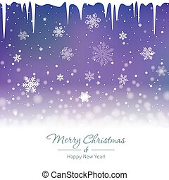 Christmas snowy background with icicles