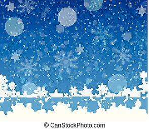 Christmas snowy blue background with defocused elements.