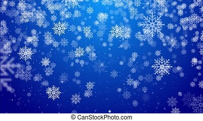 Christmas, Snowy Blue loop Background. Holiday winter landscape for Merry Christmas