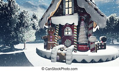 Christmas snowy enchanted forest and a gingerbread man in the fairy house. Christmas and New year 3D rendering.