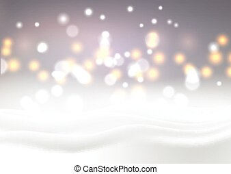Christmas snowy landscape with bokeh lights