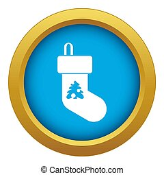 Christmas sock icon blue isolated