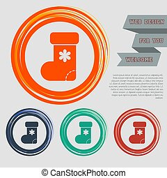 Christmas sock icon on the red, blue, green, orange buttons for your website and design with space text. Vector