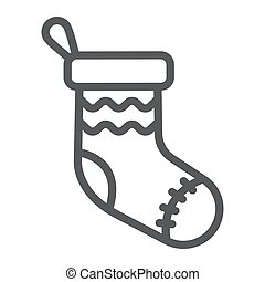 Christmas sock line icon, decor and new year, festive stocking sign, vector graphics, a linear pattern on a white background.