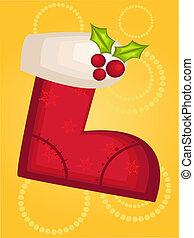 christmas sock on christmas card