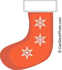 Christmas sock vector icon. Isolated on white background.