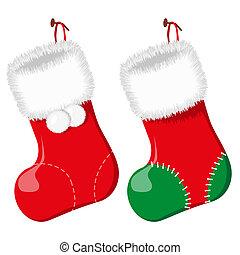 The Red christmas socks. Vector illustration. EPS8