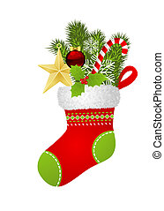Christmas sock with fir branch, star, candy cane, snowflakes...