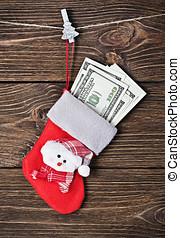 Christmas sock with gift dollars