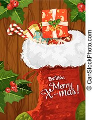 Christmas sock with gift on wooden background