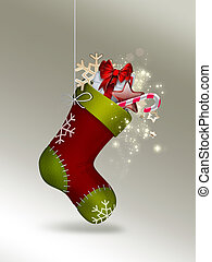 Christmas Sock with gifts - festive background