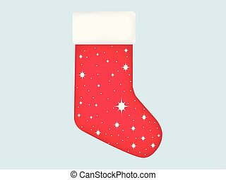Christmas sock with snowflakes. Festive realistic sock icon with gradient. Vector illustration