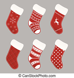 Christmas socks collection - Set of red and white Christmas...