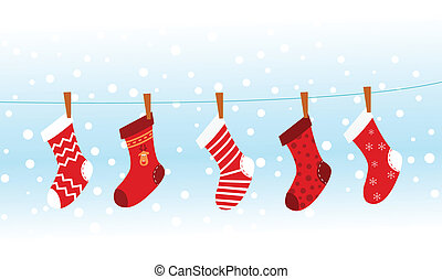 Christmas Socks - Group of christmas socks hangin