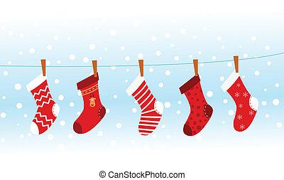 Christmas Socks - Group of christmas socks hangin