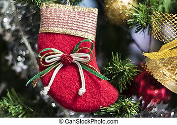 Christmas socks hanging on a Chrismas tree.