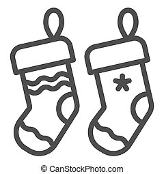 Christmas socks line icon. Two stuffer socks vector illustration isolated on white. Christmas stocking outline style design, designed for web and app. Eps 10.