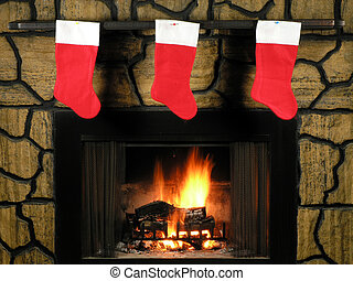 Christmas Socks - Red christmas socks hung by the fireplace