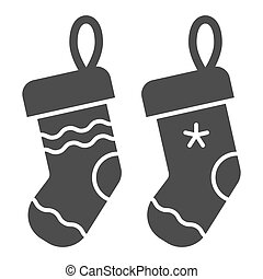 Christmas socks solid icon. Two stuffer socks vector illustration isolated on white. Christmas stocking glyph style design, designed for web and app. Eps 10.