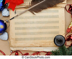 Old music book ready for christmas song