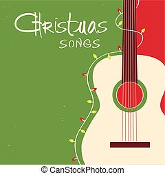 Christmas songs guitar on red green background. Vector ...