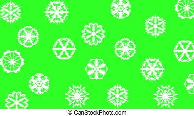 Christmas different sort of snowflakes, effect snowfall on a green screen background. 4k animation.