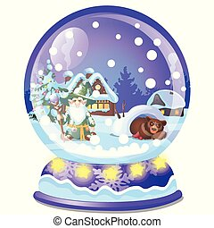 Christmas souvenir in the form of house in a glass ball isolated on white background. Sample of poster, party holiday invitation, festive card. Vector cartoon close-up illustration.