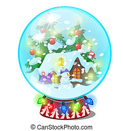 Christmas souvenir in the form of house in a glass ball isolated on white background. Vector cartoon close-up illustration.