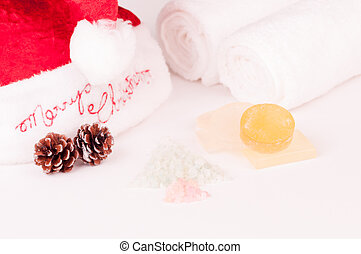 Christmas spa holiday with soap