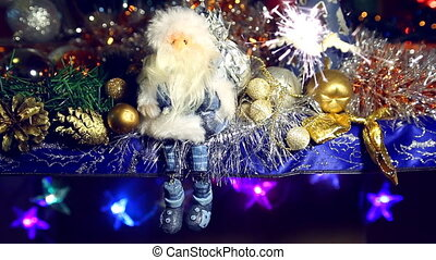 Christmas sparkler and Santa Claus