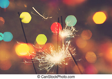 Christmas Sparkler - Bengal fire, sparkler and colorful...