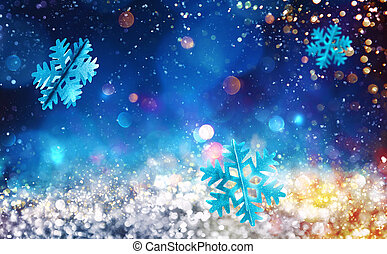 Christmas sparkly crystal with snowflake background