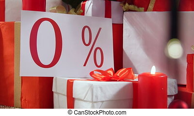 Christmas special offer zero percent sign with wrapped gift boxes