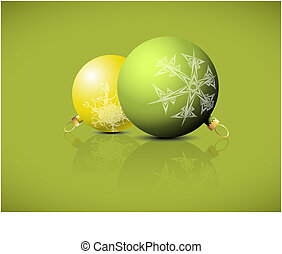 Christmas spheres with snowflakes ornaments