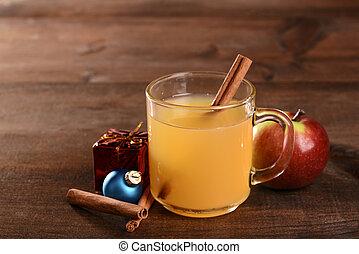 christmas spiced apple cider with cinnamon stick