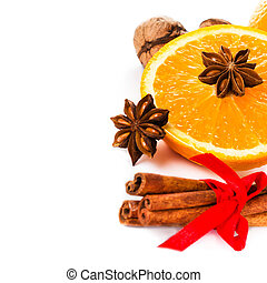 Christmas spices for hot mulled wine isolated on white backgroun