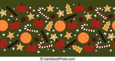 Christmas spices seamless vector border. Repeating background of star anise, apple, orange, cinnamon rolls, cookies, candy canes. Hand drawn isolated objects on green for card decor, banner