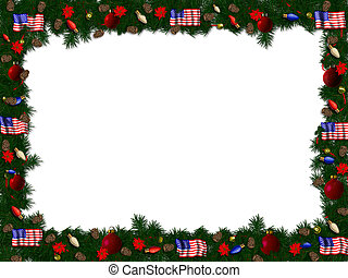 spruce christmas border featuring american flags
