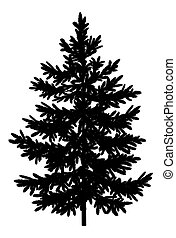 Christmas spruce fir tree black silhouette isolated on white background.